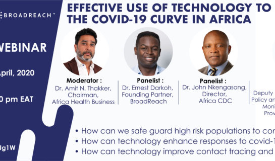 Upcoming Covid-19 Webinar: Effective use of technology to flatten the Covid 19 curve in Africa.